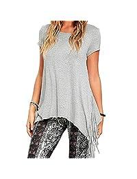 Ya Lida Women's Casual Fringed knit short-sleeved T-shirt O-Neck Tops