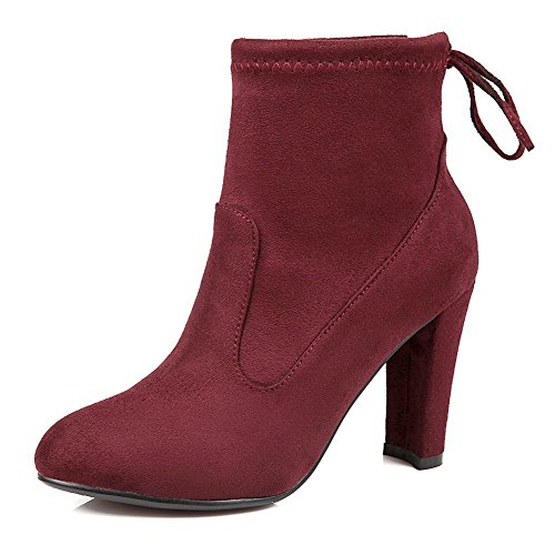 Boots Frosted High Claret up top Low Women's Heels Solid Lace Allhqfashion qzUBTB
