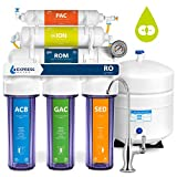 Express Water Deionization Reverse Osmosis Filtration System - 6 Stage RO DI Water Filter with Faucet and Tank - Distilled Pure - Under Sink Home Softener - 100 GPD with Clear Housing & Pressure Gauge