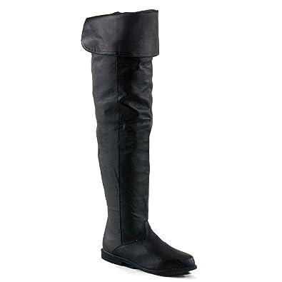 56a10e3e411b Summitfashions Thigh Hi Boot Black Pig Leather No Platform No Heel Size  7