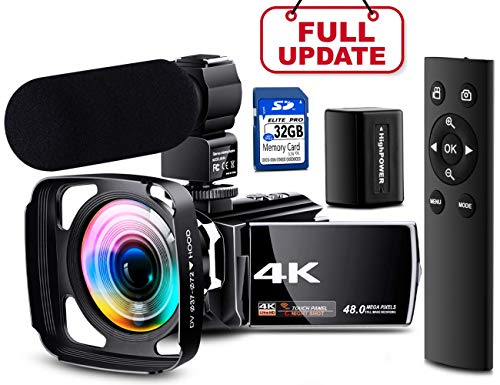 【Full Upgrade】 Ultra HD 4K Camcorder Vlogging Video Camera 60FPS YouTube Camera Digital Recorder Remote Control IR Night Vision with Powerful Microphone, Wide Angle Lens, Lens Hood, Batteries (Best Camera Lens For Sports Shots)