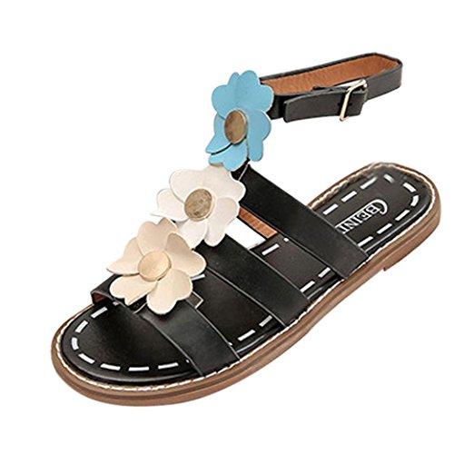 Vovotrade® 3 Sandalias del Verano de La Mujer de Las Sandalias Zapatos Bajos del Pío-Dedo del Pie Zapatillas de Deporte Romanas de Las Señoras negro