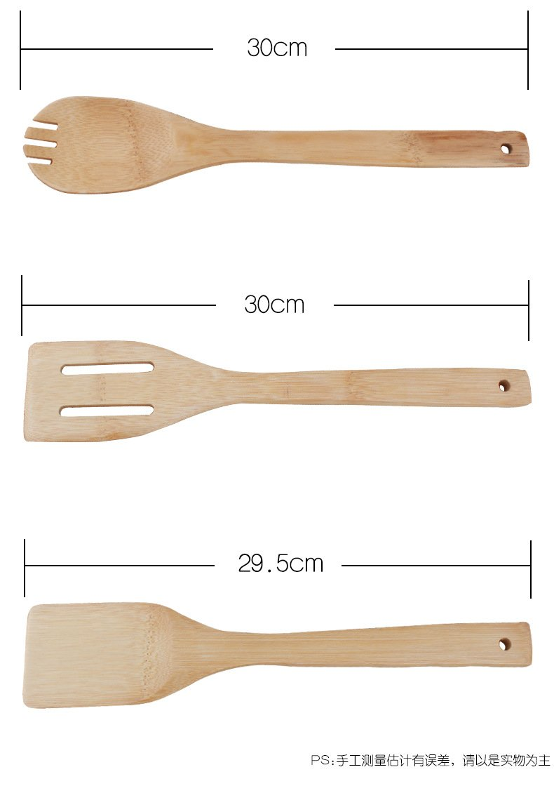 6Pcs/set Cooking Utensils Bamboo Wood Kitchen Slotted Spatula Spoon Mixing Holder Dinner Food Rice Wok Shovels Tool