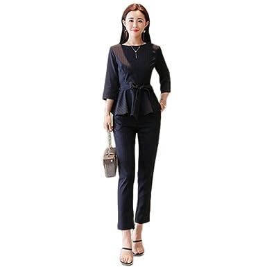 a8331a3a5bbe9 Kokoya レディース パンツドレス セットアップ 2点セット ビジネス スーツ フォーマルドレス OL 通勤 パーティー お呼ばれ