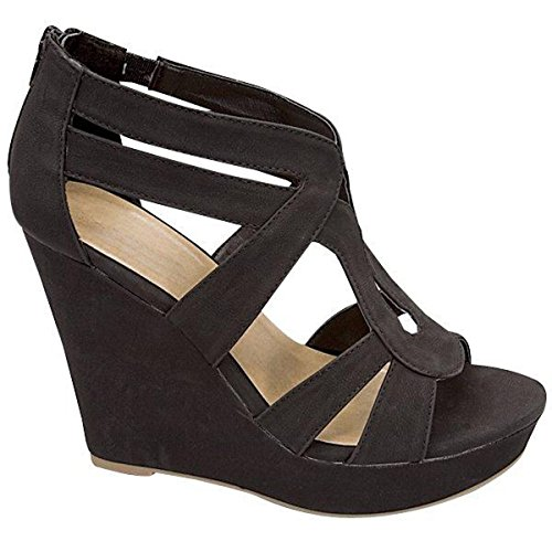 Fashion-shoes Womens Strappy Wedge Sandals Black M4m12