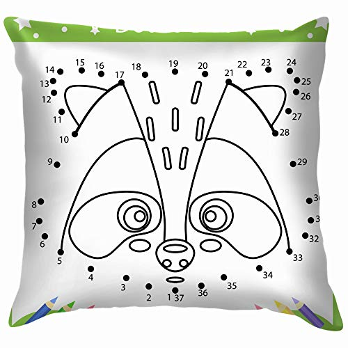 Drawing Worksheets Dot Dots Drawn Cute Education Coloring Soft Cotton Linen Cushion Cover Pillowcases Throw Pillow Decor Pillow Case Home Decor 12X12 Inch]()