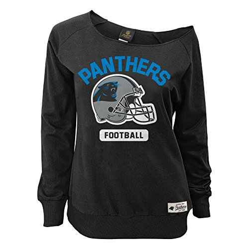 Outerstuff NFL Junior Girls Wide Receiver Long Sleeve Boat Neck Sweatshirt, Carolina Panthers, Black, ()