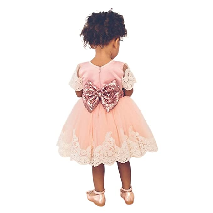 e014bdec03f2 SHOBDW Girls Dresses, Baby Fashion Lace Princess Bridesmaid Pageant Tutu  Tulle Gown Party Wedding Dress Kids Clothes Gifts: Amazon.co.uk: Clothing