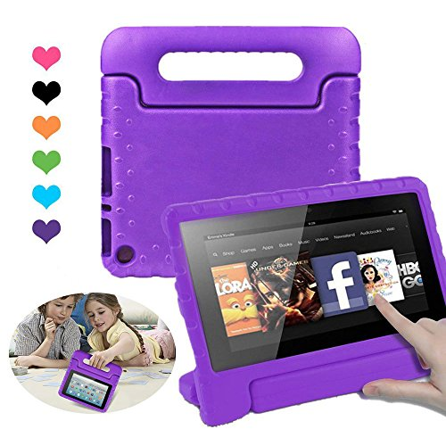 CAM-ULATA Amazon Fire 7th 5th Generation Case for Kids 2017 2015 Kids proof Shock proof with Handle Kindle 7 inch Cover Purple