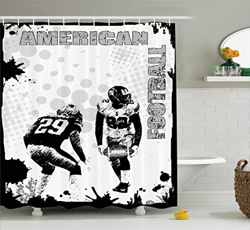 Ambesonne Sports Decor Shower Curtain Set, Grungy Murk American Football Image International Team World Cup Kick Play Speed Victory, Bathroom Accessories, 69W X 70L Inches, Black White