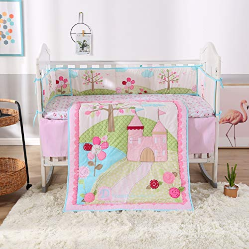 Wowelife Pink Baby Bedding 7 Piece Castle Flower Crib Bedding Sets for Girls with Bumpers(Pink Flower)