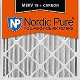 Nordic Pure 20x20x4 (3-5/8 Actual Depth) MERV 15 Plus Carbon AC Furnace Air Filters, Box of 2