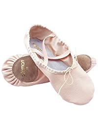 s.lemon First Grade Top Layer Leather Ballet Dance Yoga Shoes Slippers Split Sole Flats Pumps for Girls Kids