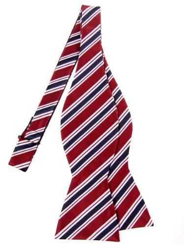 Retreez Preppy Stripe Pattern Woven Microfiber Self Tie Bow Tie (Pattern Silk Bow Ties)