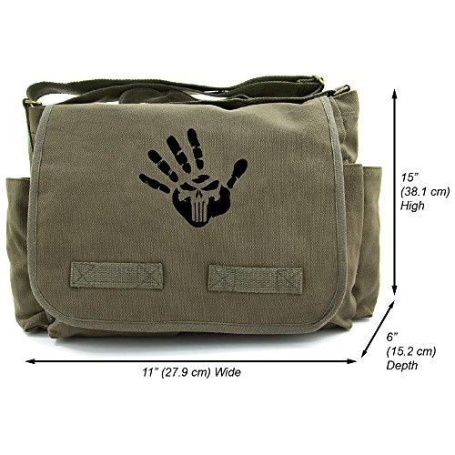 Punisher We Know Handprint Canvas Messenger Shoulder Bag, Olive & Black