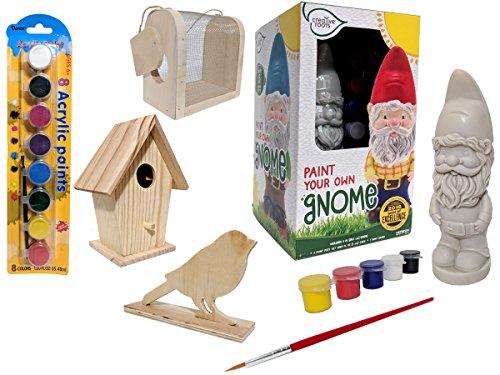 Garden Cheris (Kids Crafts for Boys DIY Gnome Paint Kit, Birdhouse, Bug Catcher, Bird, Craft Kit for Kids 9-12 Bundle. Summer Activities for Kids)