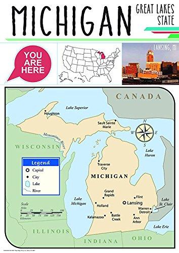 (Eureka Capstone Michigan State Bulletin Board for Teachers Classroom Decorations Set, 5pc, 17'' W x 24'' H)
