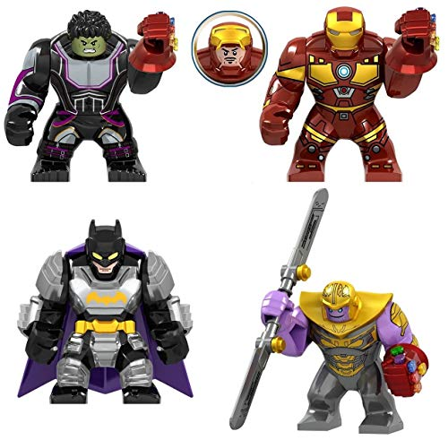 (NSHUWE 4 Figures Set, Super Heroes Fighting with Accessories, Building Bricks Blocks Action Figures Toy, Kids Gift, Height 3 in.)