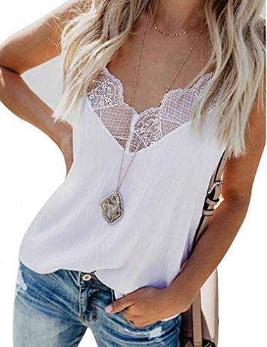 Racerback Tank Tops,Women Crochet Workout Active Sports Tank Camisole Lace Vest Trendy Top XL White