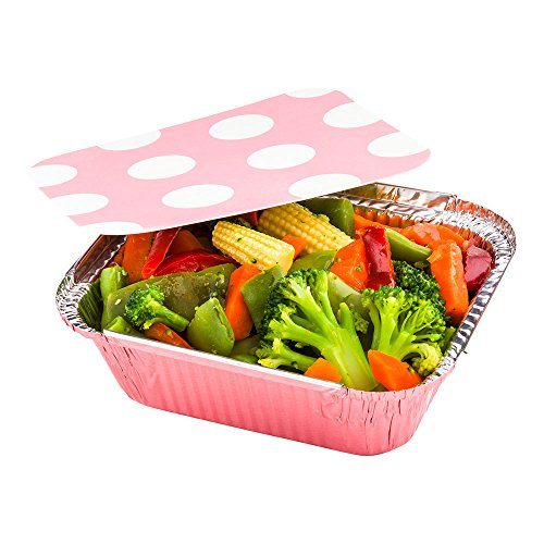 Disposable Aluminum Foil Take Out Food Containers, To Go Pans with Lids - 12 oz - Catering, Meal Prep, Carry Out - Pink Foil with Polka Dot Lid - 50ct Box - Restaurantware