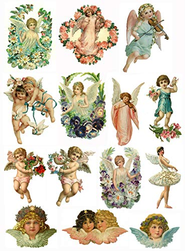 (Victorian Vintage Angels and Cupids Collage Sheet 8.5 x 11