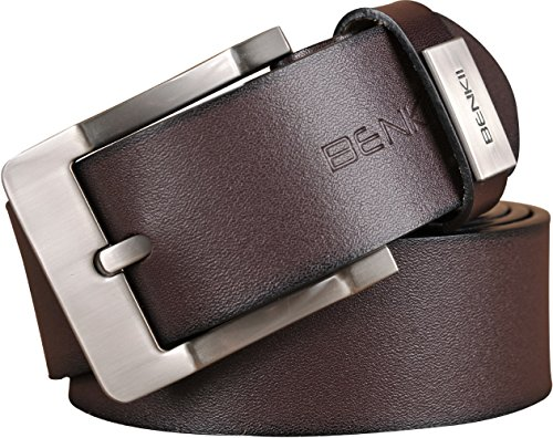Belt for Men -Trimmed to Fit- Top Class Genuine Leather Men's Belt (34-38, Brown)