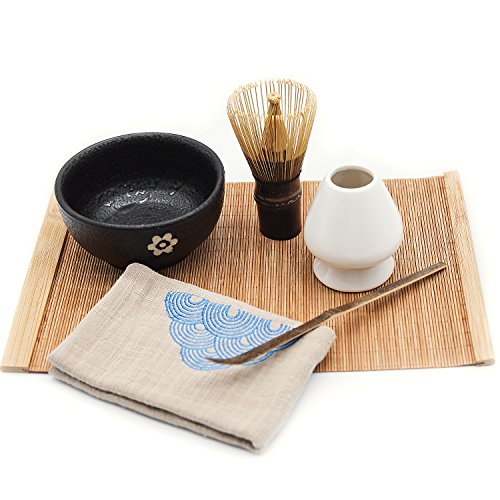 Mocha Chadao Matcha whisk and holder | Purple Bamboo Whisk & Tea Scoop | Matcha Bowl | Whisk Holder | Gift Box |Best Authentic Accessories For Japanese Matcha Green Tea Ceremony ()