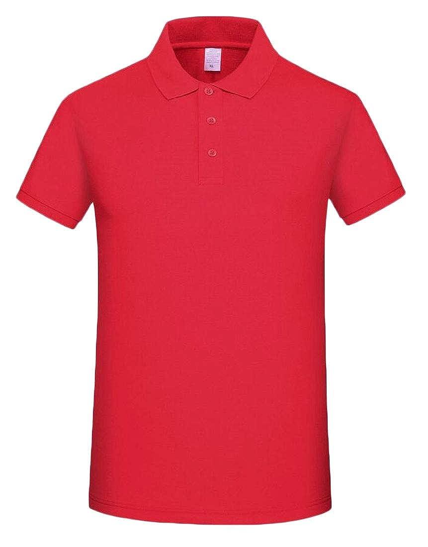 CYJ-shiba Mens Solid Color Short Sleeve Pique Business Custom Fit Leisure Polo Shirt