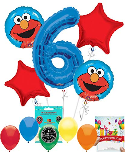 Elmo Party Supplies Sesame Street Balloon Decoration Bundle with Birthday Card for 6th Birthday -