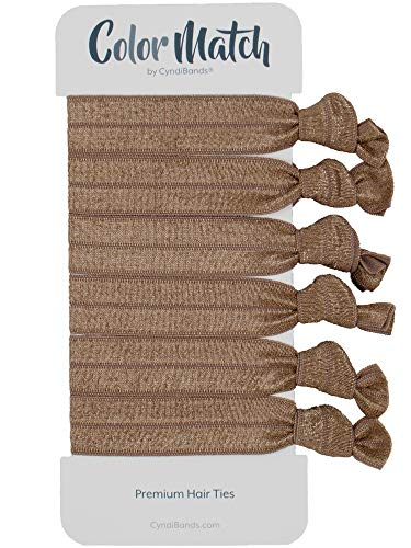(Match Your Hair Color Knotted Gentle Ribbon Less Crease Elastic Hair Ties - 6 Count (Light Ash Brown) )
