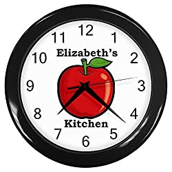 Personalized Red Apple Kitchen Wall Clock