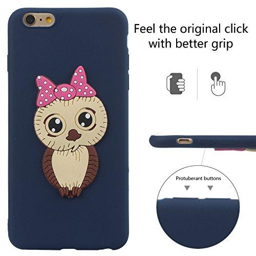 Cute Silicone Gel Creative Shockproof Skin Blue Case idatog Plus Tpu Cartoon Protector Flexible Anti Free 7 Protect Iphone Cover 8 scratch Owl Design Bumper Hd Screen Soft 3d WqZawvxCfn