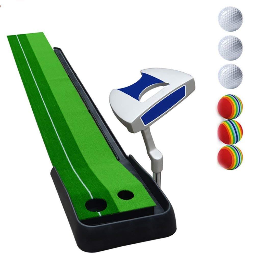 マットゴルフ屋内ゴルフオフィスパター練習フェアウェイキッズ練習毛布セット、パターセット、8mm厚、A、ワンサイズ   B07MNJ2DY2