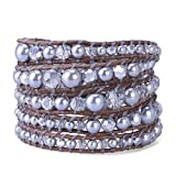 KELITCH Grey Crystal on Leather 5 Wrap Bracelet Handmade New Jewelry Charming Chain (Silver)
