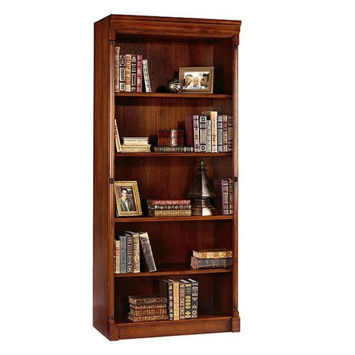 Martin Furniture Kathy Ireland Mount View Collection Traditional Cobblestone Cherry Open Bookcase