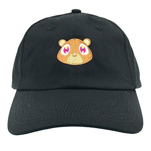 Generic Kanye West Bear Hat Dad Hat Strap Back Costume Head Men Women New (Black Hat) (Kanye West Sonnenbrille)