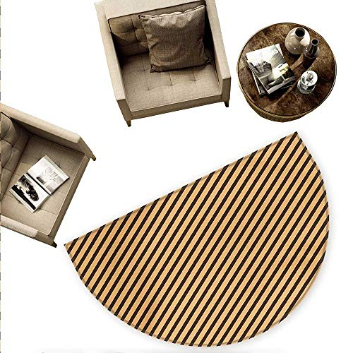 Vintage Semicircle Doormat Brown Toned Diagonal Lines Stripes Modern Geometrical Image Art Print Halfmoon doormats H 70.8