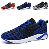 ROMENSI Men's Lightweight Athletic Tennis Running Shoes Breathable Sports Walking Sneakers (11 D(M) US, Blue)