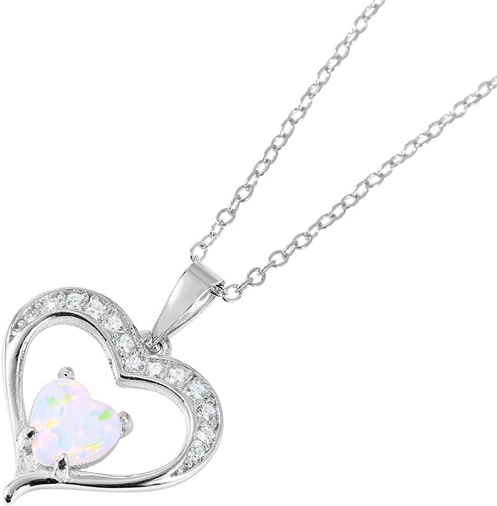 Princess Kylie Heart-Shape Simulated Opal Cubic Zirconia Heart Necklace Rhodium Plated Sterling Silver