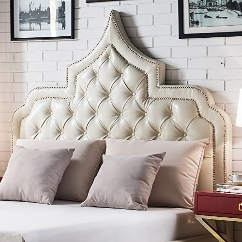 Iconic Home Casablanca PU Leather Modern Contemporary Button Tufted with Silver Nailheads Trim Headboard, Cream White, King Size