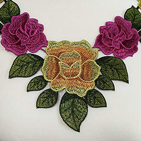 1pc Green Flower Embroidery Applique Pacthes Lace Fabric Neckline Collar Motif Scrapbooking DIY Clothes Sewing