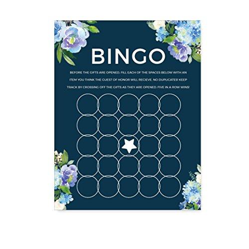 Andaz Press Navy Blue Hydrangea Floral Garden Party Wedding Collection, Bridal Shower Bingo Game Cards, 20-Pack ()