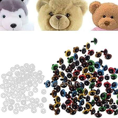 8mm Sharplace 100 St/ück 8-20mm Sicherheitsaugen Kunststoffaugen mit Unterlegscheiben f/ür B/äre Tier Puppe Maske DIY Herstellung