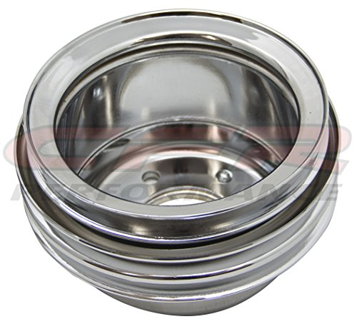 STEEL 1965-1966 Compatible/Replacement for FORD SB CRANK PULLEY 3 GROOVE - CHROME