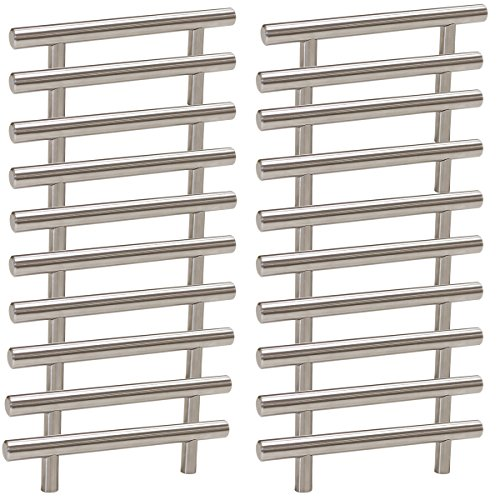 Probrico Stainless Steel Modern Cabinet Handles, Drawer Pulls, Kitchen Cupboard T Bar Knobs and Pull Handles Brushed Nickel - 3-3/4 Inch Screw Spacing - - Steel Cupboard Stainless Knobs
