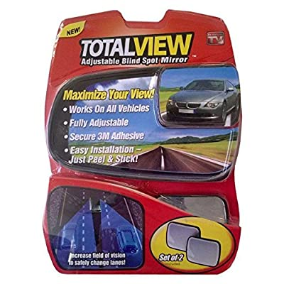 Total View 360 Wide Angle Universal Adjustable Blind Spot Mirror, Frameless Square Design, 2 Pack: Automotive