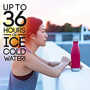 Thermo Tank Insulated Stainless Steel Water Bottle - Ice Cold 36 Hours! Vacuum + Copper Technology - 17 Ounce (Deep Red, 17oz)