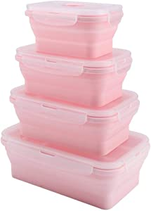 Folding Silicone Lunch Bento Box Set Microwave Lunchbox Food Container Portable 350/500/800/1200mL Pink Green(Pink)