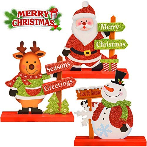 JTIEO Gift Boutique 3 Christmas Table Decorations for Dinner Party Coffee Table Snowman Santa Reindeer Merry Christmas Happy Holidays - Decorations Gifts Christmas