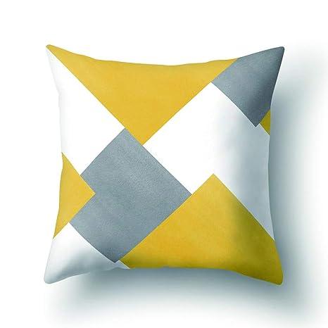ZHOUBA - Funda de cojín Decorativa, diseño de libélula geométrica, Color Amarillo